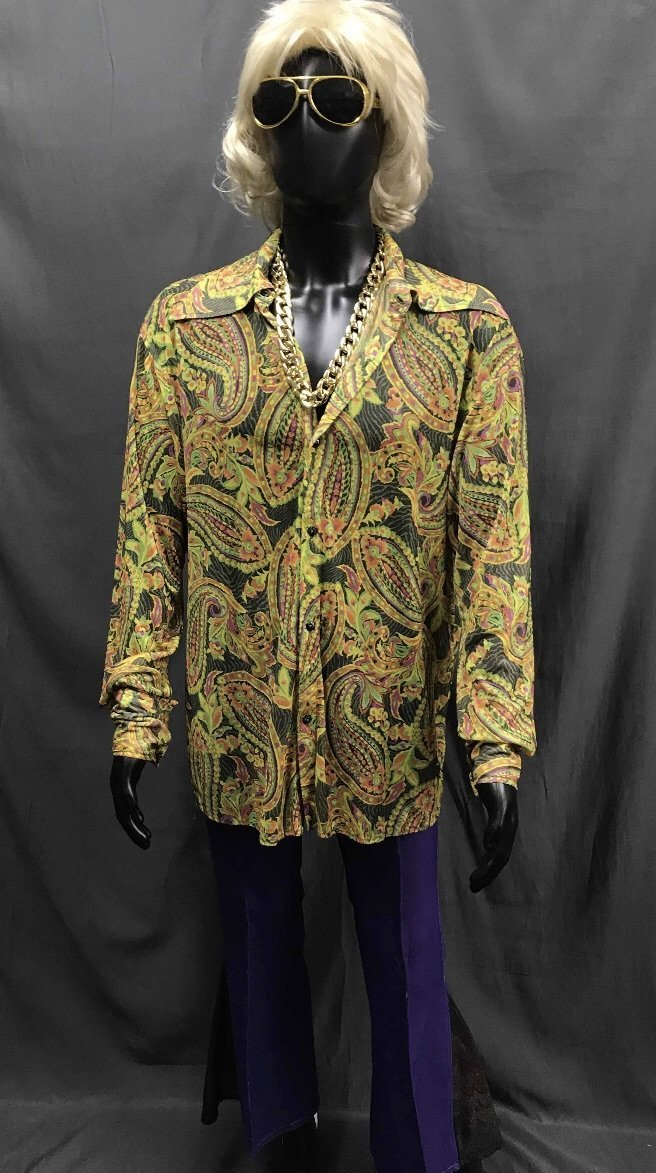 60-70s Mens Disco Costume - Hippie Shirt with Purple Flares - Hire - The Costume Company | Fancy Dress Costumes Hire and Purchase Brisbane and Australia