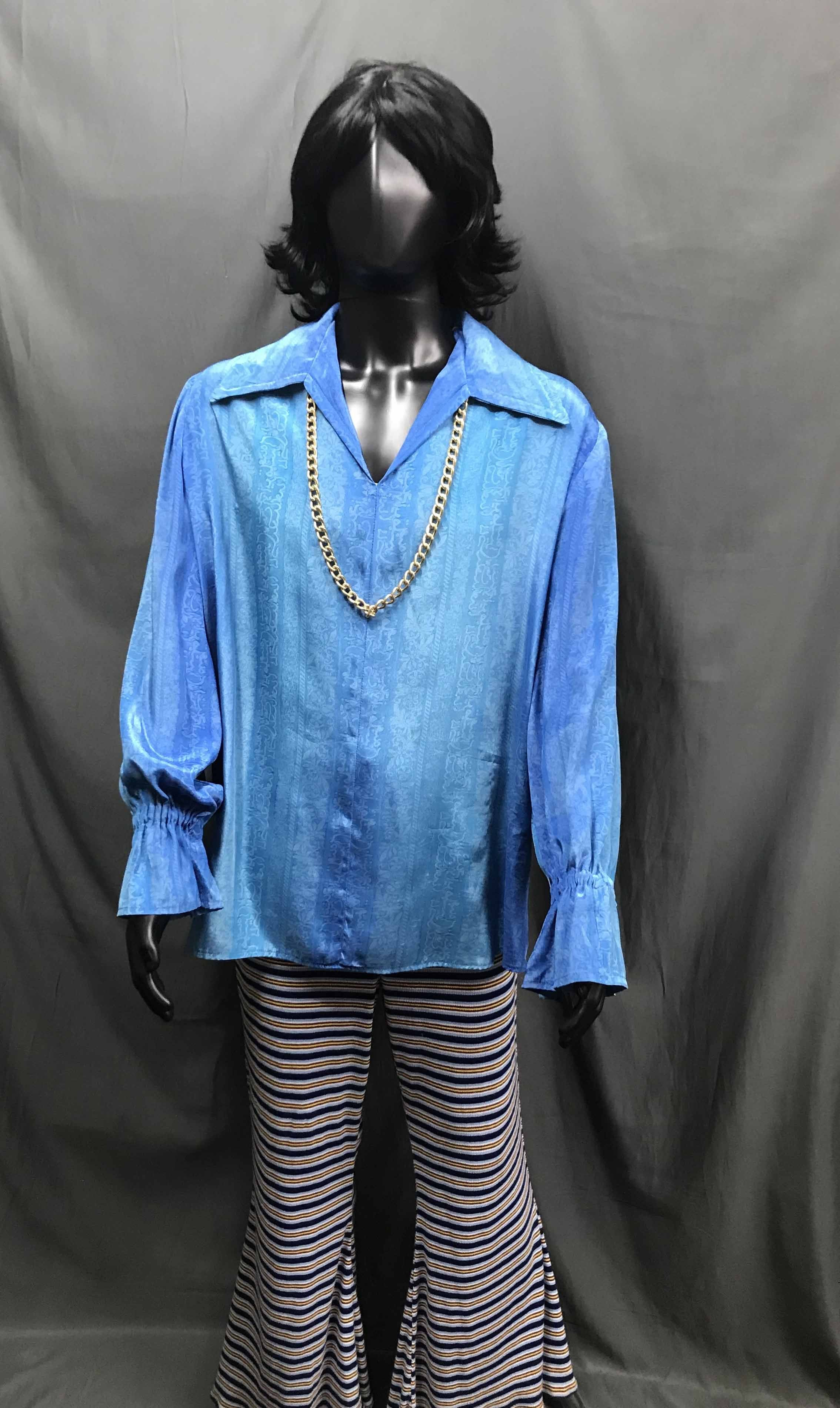 60-70s Mens Disco Costume - Light Blue Long Sleeve Shirt and Pattern Flares- Hire - The Costume Company | Fancy Dress Costumes Hire and Purchase Brisbane and Australia