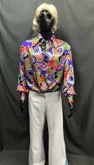 60-70s Mens Disco Costume - Multi-Pattern Shirt with White Flares - Hire - The Costume Company | Fancy Dress Costumes Hire and Purchase Brisbane and Australia