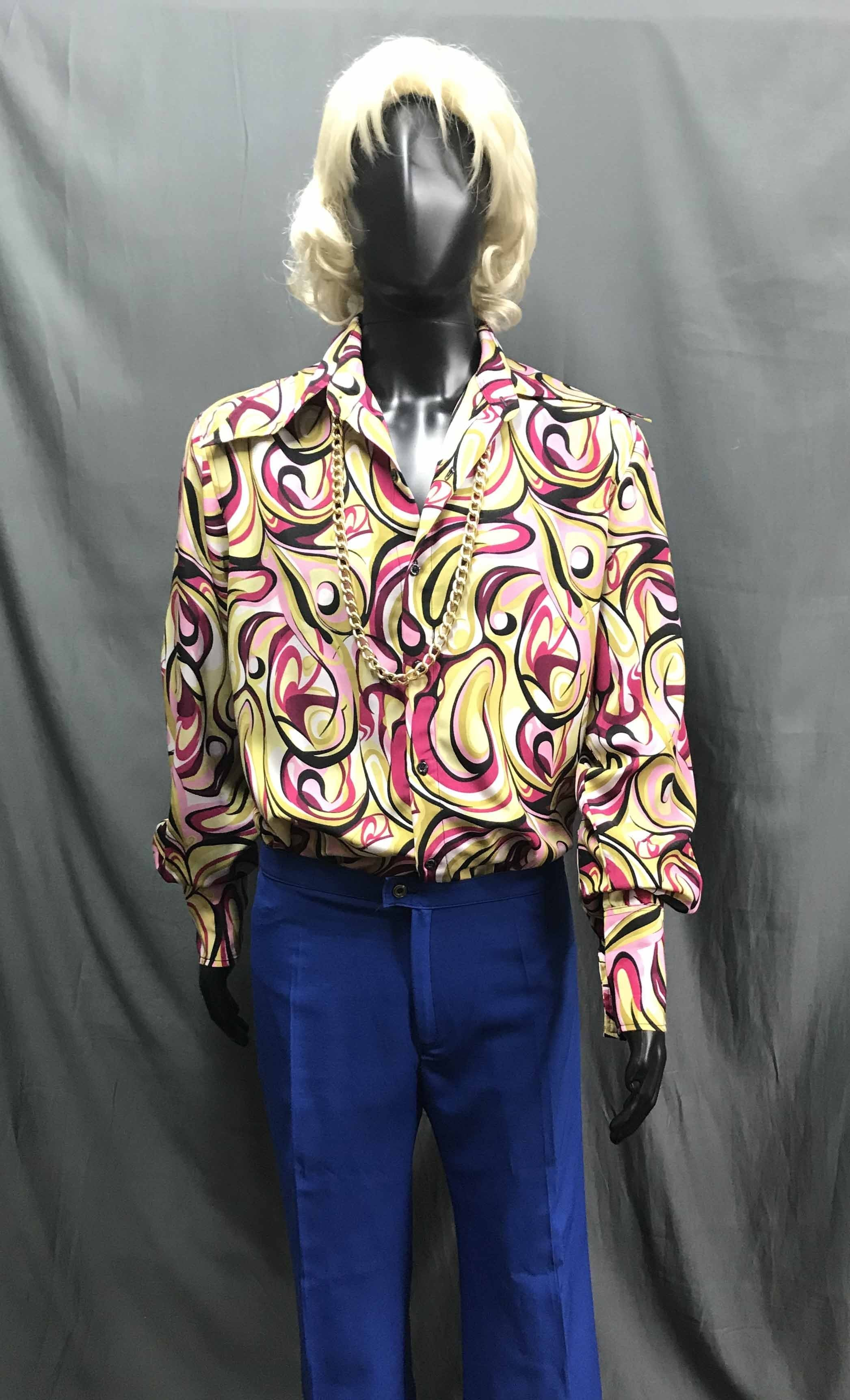 60-70s Mens Disco Costume - Pattern Shirt with Blue Flares - Hire - The Costume Company | Fancy Dress Costumes Hire and Purchase Brisbane and Australia
