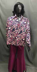 60-70s Mens Disco Costume - Pink Pattern Shirt with Maroon Flares - Hire - The Costume Company | Fancy Dress Costumes Hire and Purchase Brisbane and Australia