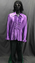 60-70s Mens Disco Costume - Purple Ruffle Shirt with Black Flares - Hire - The Costume Company | Fancy Dress Costumes Hire and Purchase Brisbane and Australia