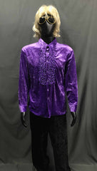60-70s Mens Disco Costume - Purple Ruffled Shirt with Black Flares - Hire - The Costume Company | Fancy Dress Costumes Hire and Purchase Brisbane and Australia