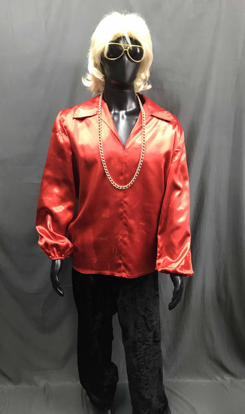 60-70s Mens Disco Costume - Red Long Sleeve Shirt with Black Flares - Hire - The Costume Company | Fancy Dress Costumes Hire and Purchase Brisbane and Australia