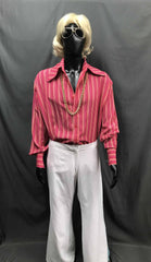 60-70s Mens Disco Costume - Red Stripe Shirt with White Flares - Hire - The Costume Company | Fancy Dress Costumes Hire and Purchase Brisbane and Australia