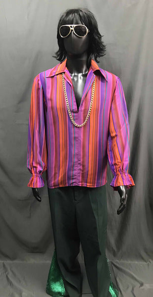 60-70s Mens Disco Costume -Stripped Pink Red Shirt with Green Flares - Hire - The Costume Company | Fancy Dress Costumes Hire and Purchase Brisbane and Australia