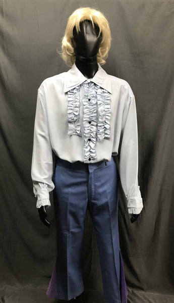 60-70s Mens Disco Costume - White Long Sleeve Ruffled Shirt with Blue and Purple Flares - Hire - The Costume Company | Fancy Dress Costumes Hire and Purchase Brisbane and Australia
