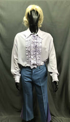 60-70s Mens Disco Costume - White Long Sleeve Shirt with Blue Flares - Hire - The Costume Company | Fancy Dress Costumes Hire and Purchase Brisbane and Australia