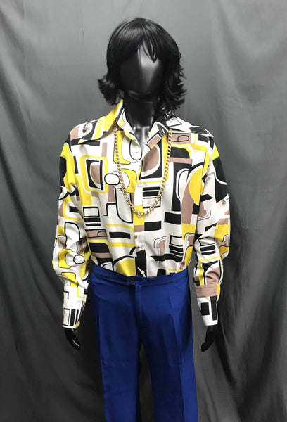 60-70s Mens Disco Costume - Yellow and White Pattern Sleeve Ruffled Shirt with Blue Flares - Hire - The Costume Company | Fancy Dress Costumes Hire and Purchase Brisbane and Australia