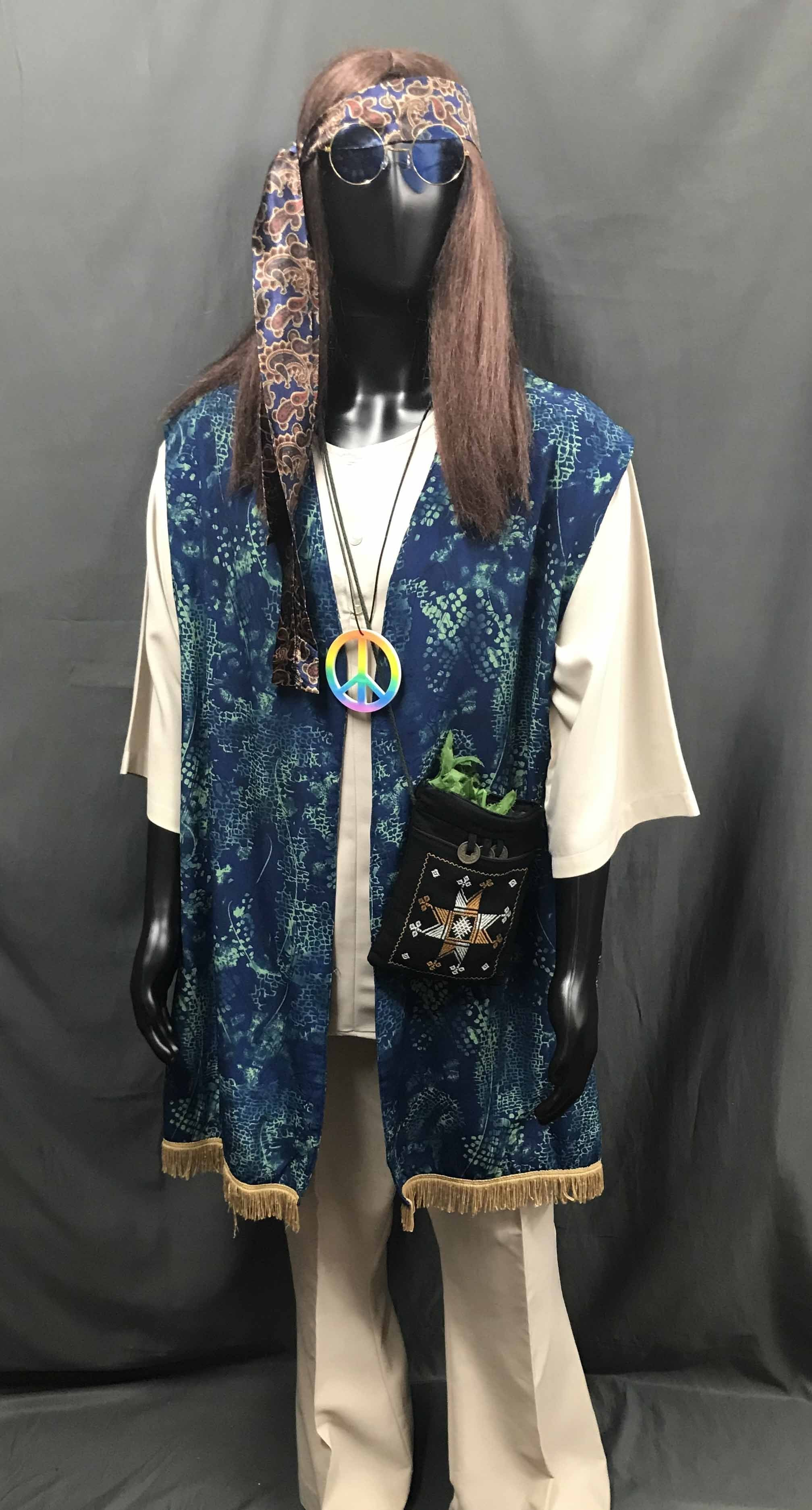 60-70s Mens Hippie Costume - Blue Vest with Gold Trim with Beige Flares - Hire - The Costume Company | Fancy Dress Costumes Hire and Purchase Brisbane and Australia
