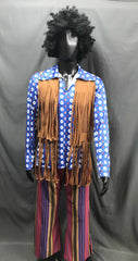 60-70s Mens Hippie Costume - Brown Tassel Vest with Coloured Flares - Hire - The Costume Company | Fancy Dress Costumes Hire and Purchase Brisbane and Australia