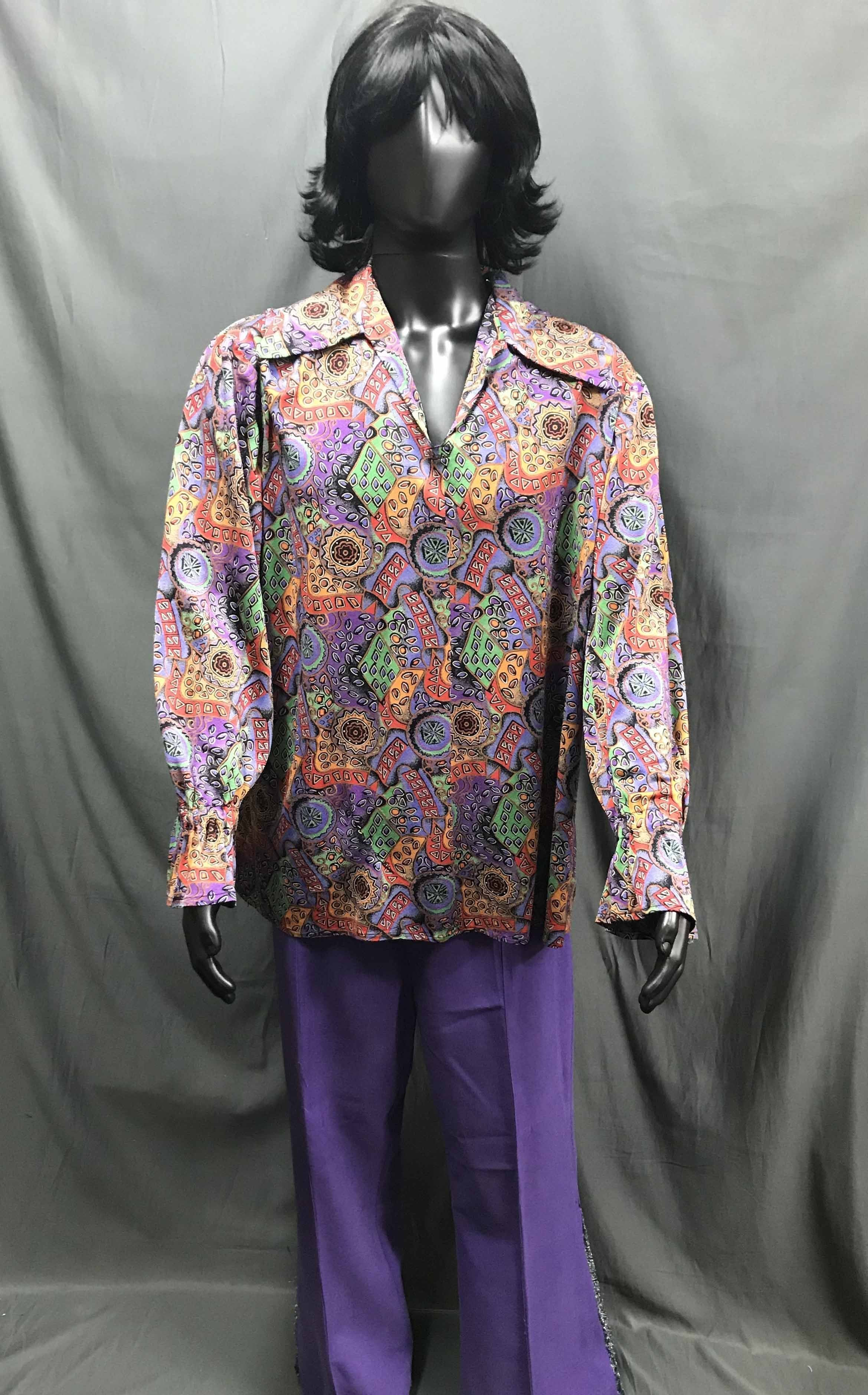 60-70s Mens Hippie Costume - Coloured Pattern Shirt with Purple Flares - Hire - The Costume Company | Fancy Dress Costumes Hire and Purchase Brisbane and Australia