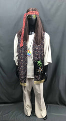 60-70s Mens Hippie Costume - Retro Vest with White Flares - Hire - The Costume Company | Fancy Dress Costumes Hire and Purchase Brisbane and Australia