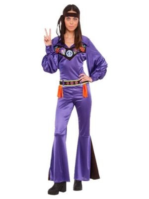 Purple Hippie Jumpsuit 70s Babe Costume - Buy Online Only