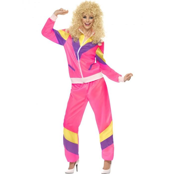 80s Height of Fashion Shell Suit Pink - The Costume Company | Fancy Dress Costumes Hire and Purchase Brisbane and Australia
