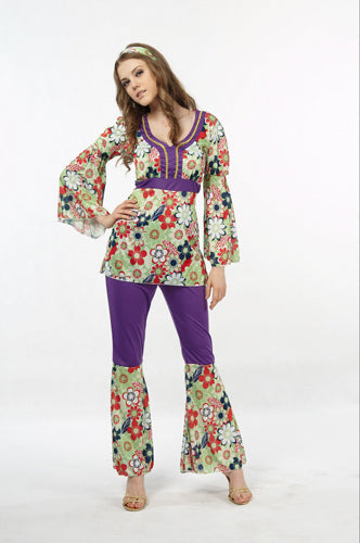 Purple Flower Power 60s Costume