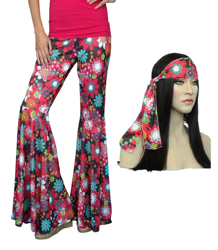 Flower Power Bellbottom Pants Red 60s Costume