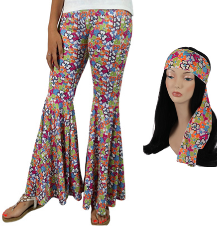 Flower Power Bellbottom Pants 60s Costume