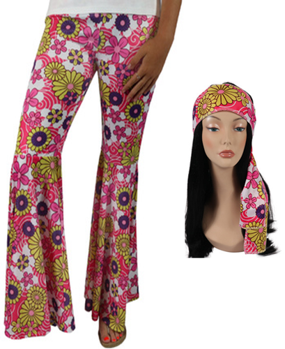 Flower Power Bellbottom Pants Pink 60s Costume