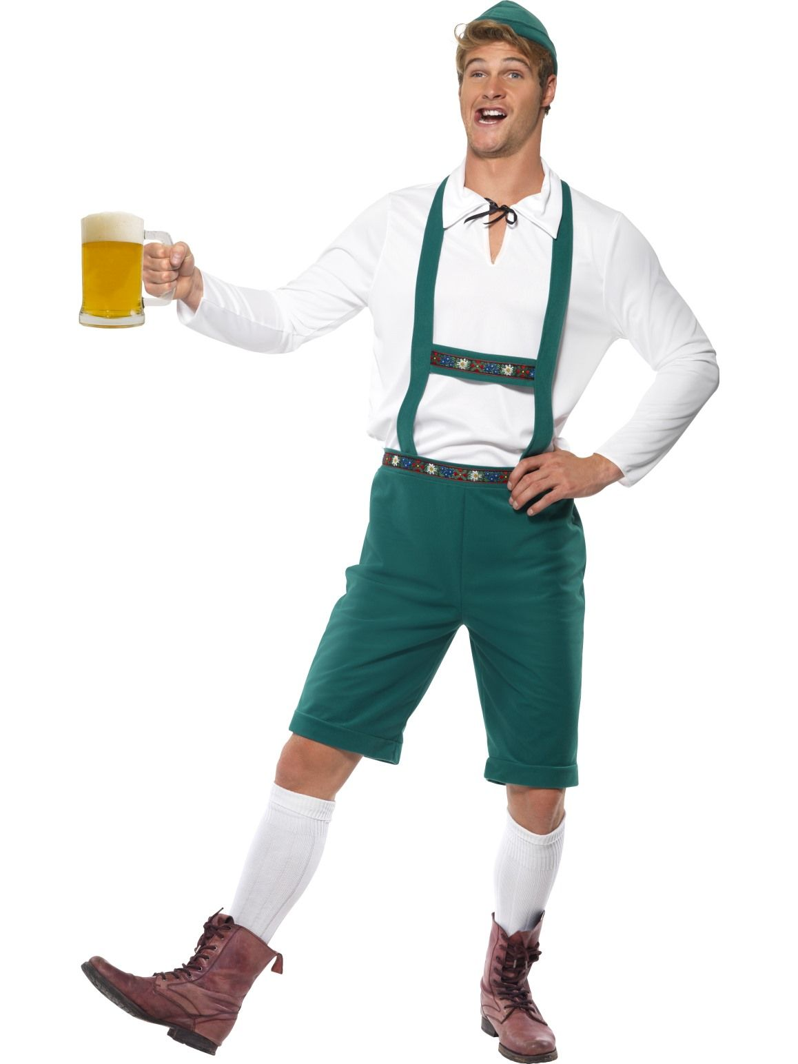 Oktoberfest Green Lederhosen Costume - Buy Online Only
