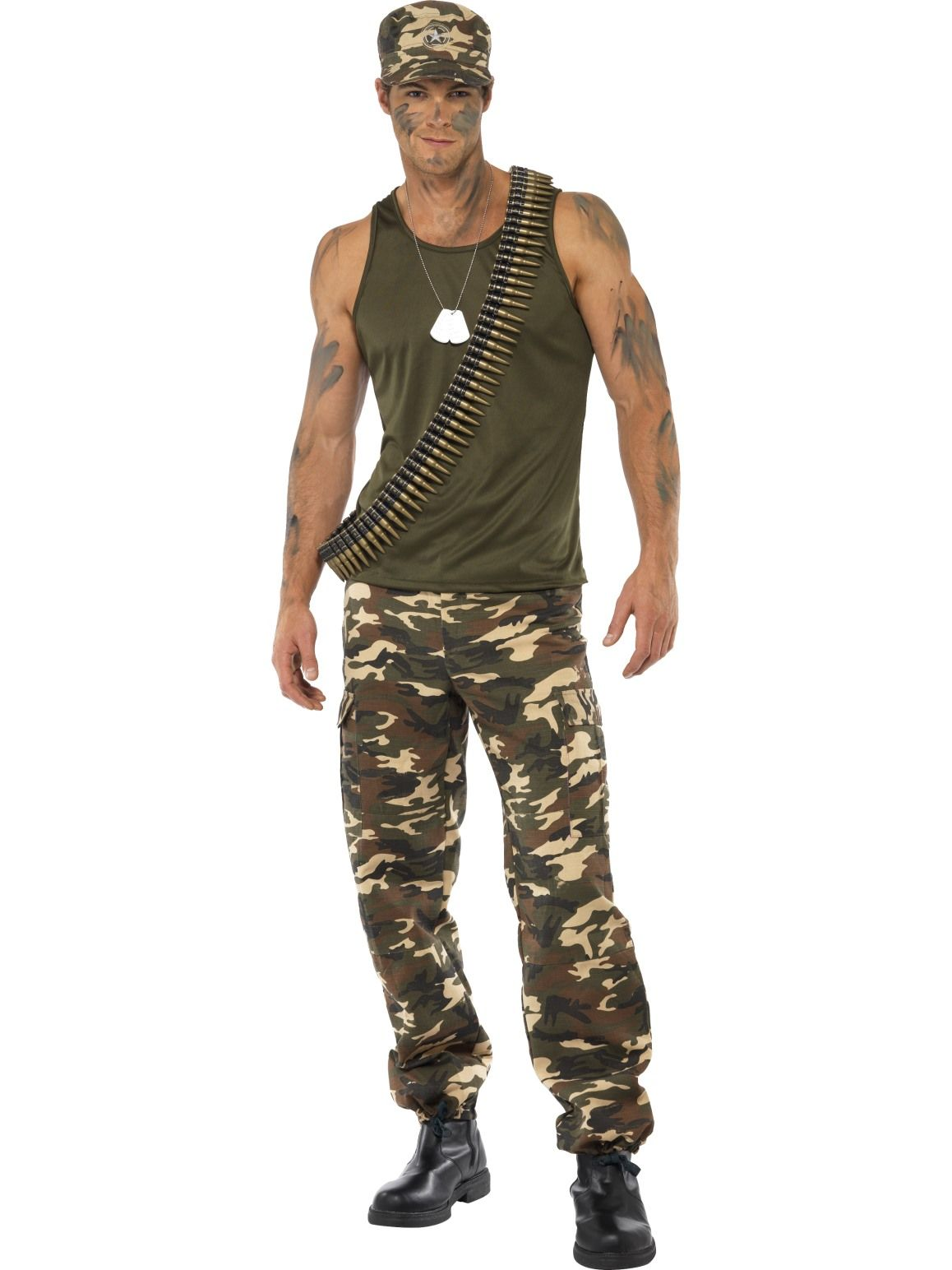 Combat Soldier Mens Khaki Camo Costume - Buy Online Only