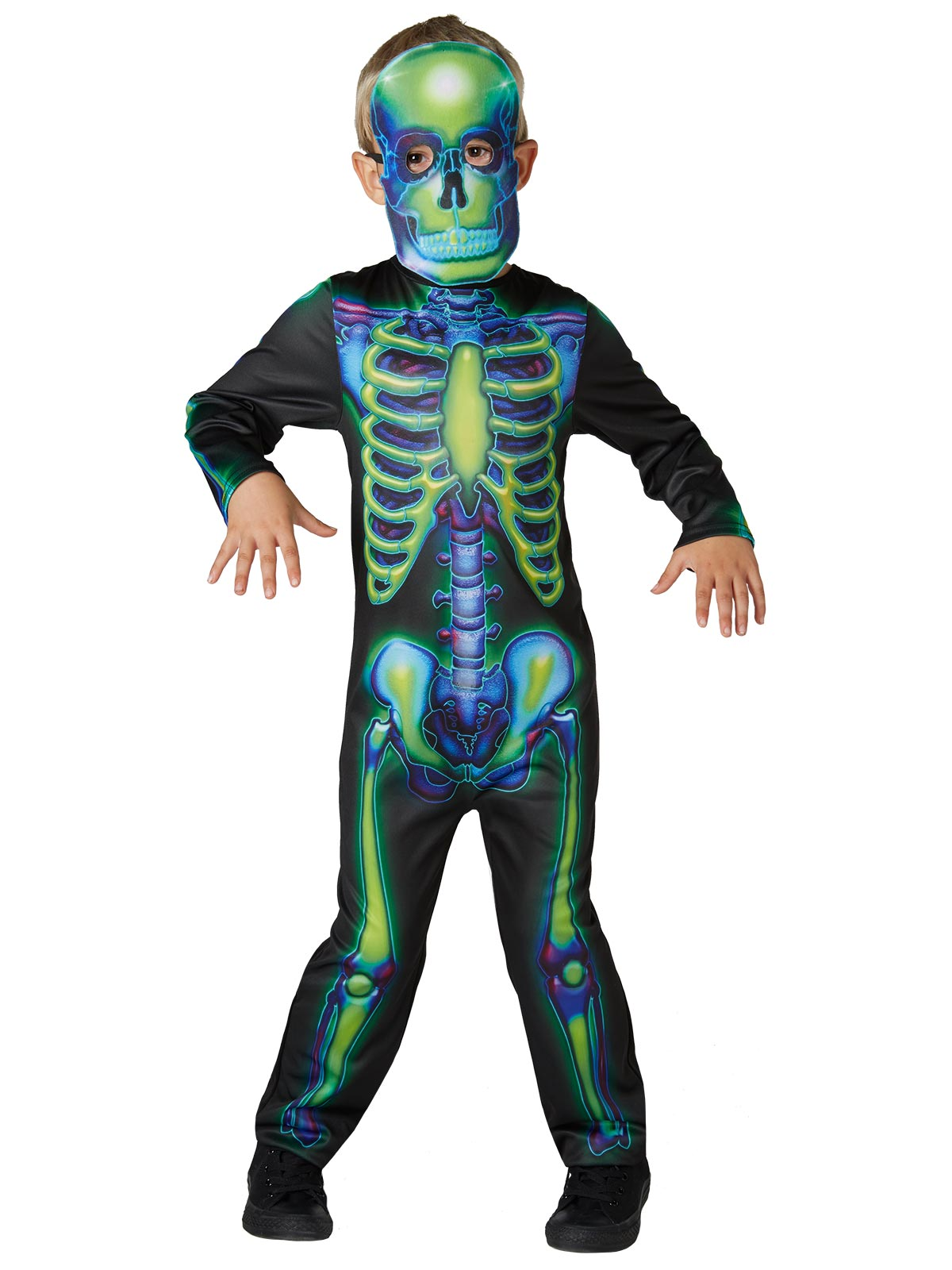 Neon Skeleton Glow In The Dark Child Costume - Buy