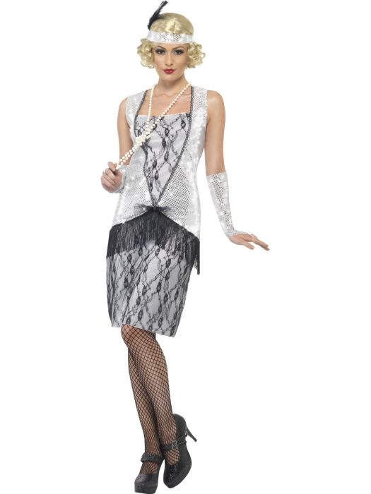 Flapper Silver and Black Dress Costume - Buy Online Only