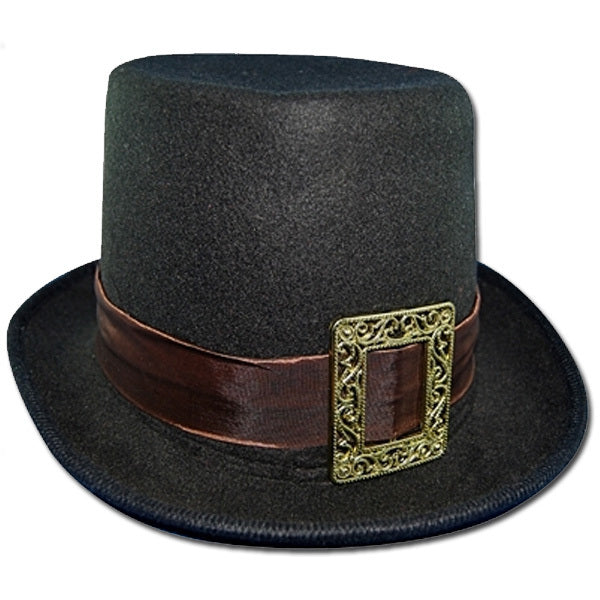 Steampunk Top Hat with Buckle - Black