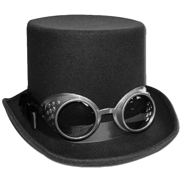 Steampunk Top Hat Deluxe with Goggles - Black