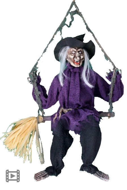 Animated Swinging Witch on a Broom - Buy Online Only