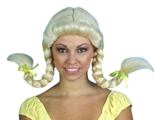 Blonde Heidi Plaits (Blonde Braids with Fringe) - The Costume Company | Fancy Dress Costumes Hire and Purchase Brisbane and Australia