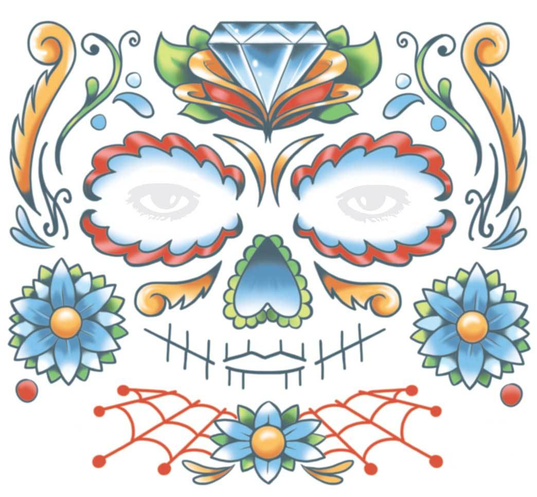 Candy Skull Face Day Of The Dead Temporary Tattoo