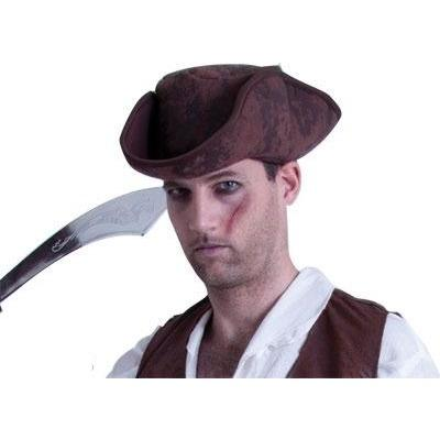 Caribbean Pirate Hat - Brown - The Costume Company | Fancy Dress Costumes Hire and Purchase Brisbane and Australia