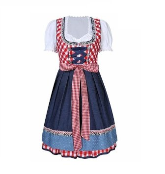 'Coming Soon' - Oktoberfest Beautiful Authentic Dirndl Red Chekered - The Costume Company | Fancy Dress Costumes Hire and Purchase Brisbane and Australia