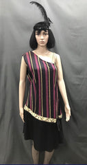Drop Wasted Dress Roaring 20's Purple Gold Stripe - Hire - The Costume Company | Fancy Dress Costumes Hire and Purchase Brisbane and Australia