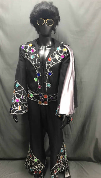 Elvis Style Jumpsuit Black - Hire - The Costume Company | Fancy Dress Costumes Hire and Purchase Brisbane and Australia