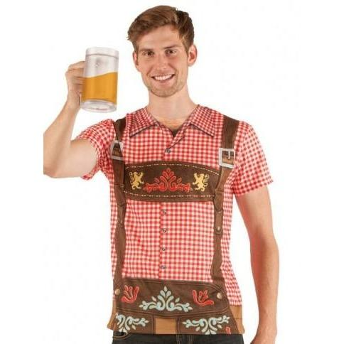 Faux Oktoberfest Men's Lederhosen T-shirt - Plus Sizes Available - The Costume Company | Fancy Dress Costumes Hire and Purchase Brisbane and Australia