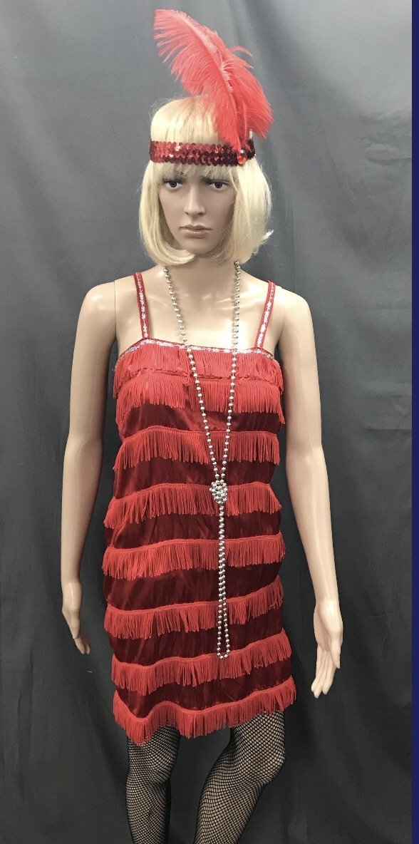Flapper Dress Roaring 20's Red with Silver Sequins - Hire - The Costume Company | Fancy Dress Costumes Hire and Purchase Brisbane and Australia