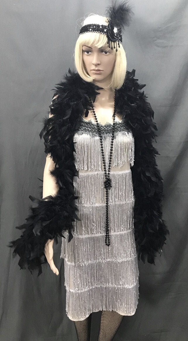 Flapper Dress Roaring 20's Silver - Hire - The Costume Company | Fancy Dress Costumes Hire and Purchase Brisbane and Australia