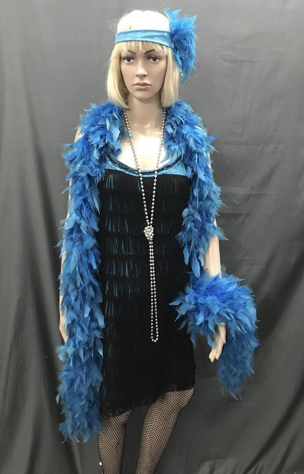 Flapper Roaring 20's Teal Dress with Black Trim - Hire - The Costume Company | Fancy Dress Costumes Hire and Purchase Brisbane and Australia