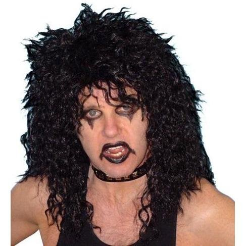 Glam Rock 80s Black Curly Wig - The Costume Company | Fancy Dress Costumes Hire and Purchase Brisbane and Australia