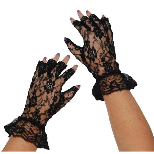 Gloves Black Lace Fingerless - The Costume Company | Fancy Dress Costumes Hire and Purchase Brisbane and Australia