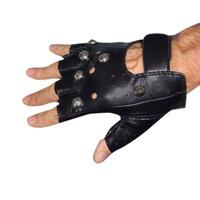Gloves Black Studded Fingerless - The Costume Company | Fancy Dress Costumes Hire and Purchase Brisbane and Australia