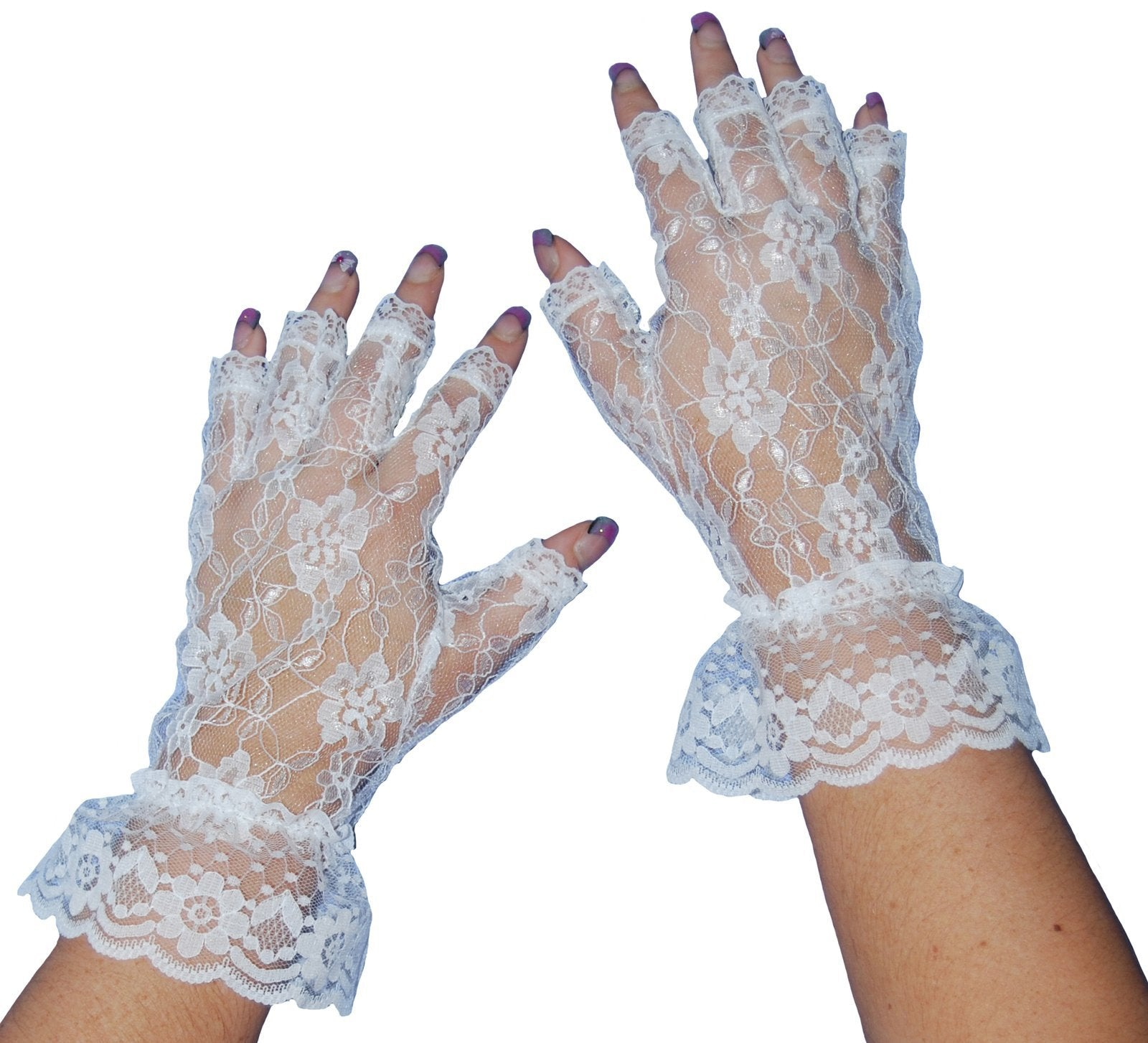 Gloves White Lace Fingerless - The Costume Company | Fancy Dress Costumes Hire and Purchase Brisbane and Australia
