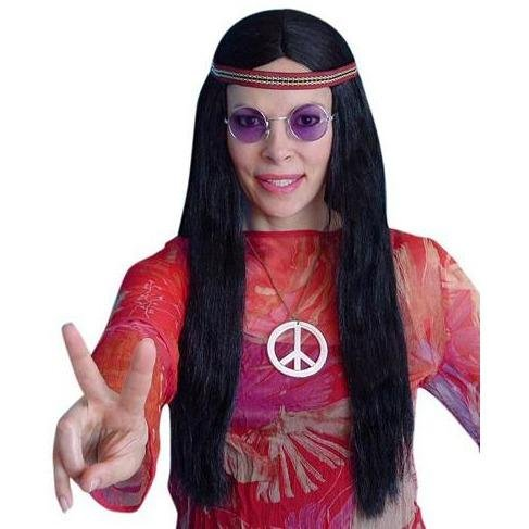 Hippie Black 60s Style Wig - The Costume Company | Fancy Dress Costumes Hire and Purchase Brisbane and Australia