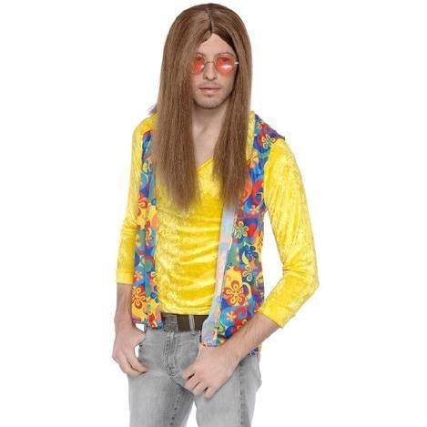 Hippie Brown 60s Style Wig - The Costume Company | Fancy Dress Costumes Hire and Purchase Brisbane and Australia