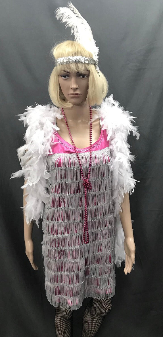 Flapper Dress Roaring 20's Pink with Silver Trim - Hire