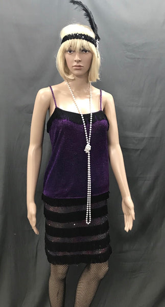 Flapper Dress Roaring 20's Purple Shimmer with Black Trim - Hire