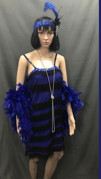Flapper Dress Roaring 20's Blue and Black Shimmer - Hire