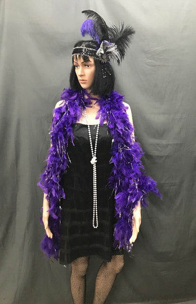 Flapper Dress Roaring 20's Black and Purple - Hire
